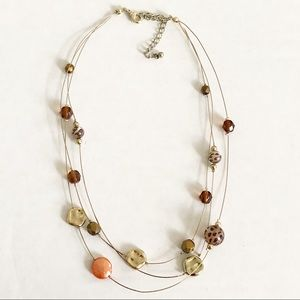 Wire necklace with mismatched beads